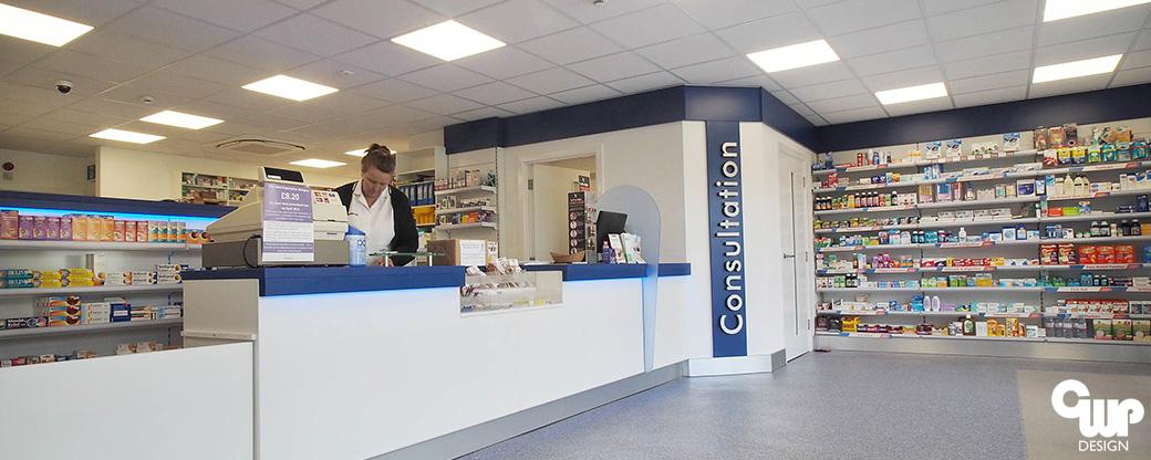 cwp design pharmacy design shopfitting staffordshire